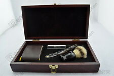 Black Shave Kit Knife Straight Razor Shaving Brush and leather Strop Gift #14