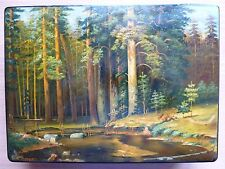 Vintage Russian art hand painted lacquer box Kholui Ship Grove Shishkin,Shabanov