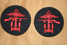 BRITISH ARMY COMBINED OPERATIONS OPS PATCHES COMMANDO BADGE WWII PAIR