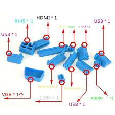 13Pcs Blue Silicone Dustproof Plug Port Cover Cap Stopper For Laptop Notebook