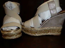 NEW DONALD J PLINER TILISP METALLIC ELASTIC WEDGE SANDAL SHOES LIGHT NATURAL 8M