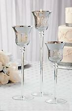 Elegant Silver Mercury Glass Candle Holders Staggered Sizes Set of 3