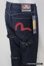 EVISU MENS JEANS W 32 L 34 STRAIGHT BUTTON FLY CINCH LEG RAW DENIMS DARK BLUE