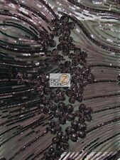 """COSMIC FLORAL SEQUINS MESH FABRIC - Black - 54""""/56"""" BY THE YARD DRESS GOWNS"""
