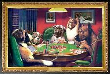 Dogs Playing Poker Coolidge Poster Dry Mounted in Black Wood Frame 24x36