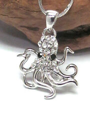 NEW Cute SEA White Gold Plated Plating Crystal Stud Octopus Charm Necklace UK