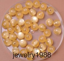 50pcs beige Acrylic Cat's Eye Charm Round Spacer Beads 8mm Jewelry Findings
