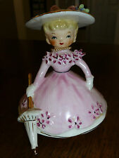 Napco - Vintage Miss Dainty Girl Figurine - Pink - Hat/Umbrella/Pearls -1956- B