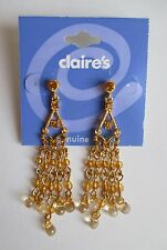 ed Petite Chandelier gold tone bead crystal Earrings CLAIRES FASHION JEWELRY