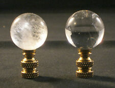 LAMP FINIAL-NATURAL ROCK QUARTZ CRYSTAL SPHERE-BRASS BASE (1 PC.)