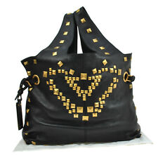 Authentic GIVENCHY Jumbo XL Studs Hand Tote Bag Black Leather Vintage V07103
