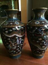 "12"" Large Pair Antique Japanese Cloisonné Vases Meiji Period dragon"