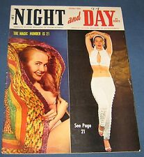 "Night And Day  Oct 1956  Men's Magazine  Large Tabloid Size  10"" x 13"""