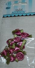 """Offray Ribbon Rose~Colonial Rose~3/8""""~Leaf~40 Pc~Mini~Scrapbook~Craft~Sewing"""