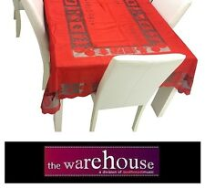 RED CHRISTMAS XMAS TABLE CLOTH 150x265cm 8-10 SEAT RECTANGLE POLY TABLECLOTH