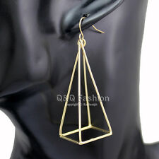 Blogger Aztec Gold Cut Out 3D Triangle Pyramid Steampunk Diva Gypsy Earrings
