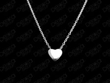 Genuine 925 Sterling Silver Love Heart Necklace Floating 3D Pendant