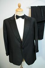 44 EXTRA SHORT W38 L26 BLACK TUXEDO DINNER SUIT TUEXDO BESPOKE TURN BACK CUFFS