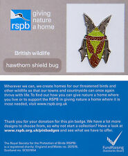 RSPB Pin Badge | Hawthorn Shield Bug | GNaH backing card [00943]