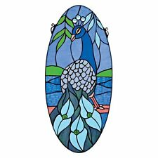 """TF9806 Majestic Peacock Oval Stained Glass Window - 11""""x 24"""" New!"""
