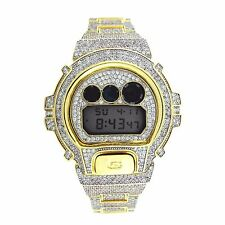 Custom CASIO GSHOCK DW6900 FULL ICED OUT 14k Gold Plated White Lab Diamond 15CT