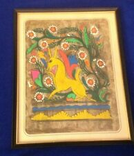 Vintage Amate Bark Paper Painting Folk Art Mexican Mexico Donkey & Flowers 12x9
