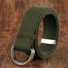 Fashion Mens Womens Canvas Belt with Double D Ring Metal Buckle Waistband Set