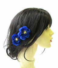 2 x Royal Blue Tea Rose Flower Hair Pins Vintage Rockabilly Clip Bridesmaid 1529