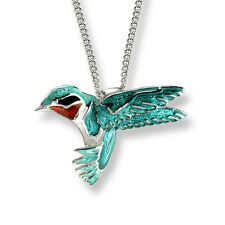 Nicole Barr Vitreous Enamel on Sterling Silver Hummingbird Necklace.
