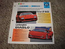 Head to Head Ferrari F40 vs Lamborghini Diablo Group 11 # 18 Spec Sheet Brochure