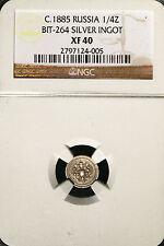 1885 Russia Dolya Silver Ingot NGC XF40