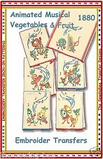 Animated Musical Veggies Motifs embroidery transfer pattern # 1880