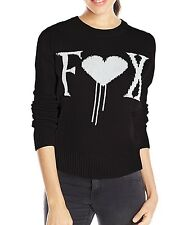 $56 Fox Racing Women's Cold Hearts Black Sweater Logo Jacquard Size M