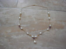 Maui Divers 14k Gold Necklace w Pearl Amethyst and Citrine.