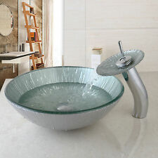 Artist Tempered Glass Bathroom Designer Vessel Sink Basin Bowl Faucet Set