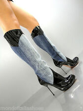 MORI ITALY HOT KNEE HEELS BOOTS STIEFEL STIVALI BLUE JEANS LEATHER BLACK NERO 37