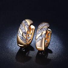 18k Gold Plated Punk CZ Jewelry AAA Zircon Hoop Earrings for Women