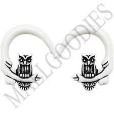 0682 Spiral Owl Taper Expander Stretcher Plugs Gauges Hoops 00G 10mm White Black