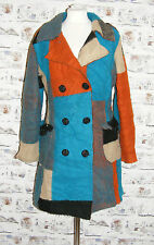 Size 14 vintage 70s style double breasted multi patchwork coat wool blend (C010)