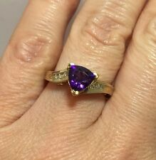 WoW 14k Yellow Gold 1.5 Ct Amethyst Trillion Pave Diamond Vintage Wedding Ring 7