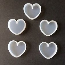 5 pcs Heart Soft Silicone Mold Fondant Mat Cake Decorating Cupcake Soap Hearts