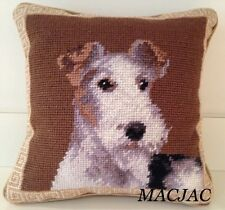 "Fox Terrier Dog Needlepoint Pillow 10""x10"" NWT"
