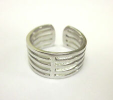 Toe Ring Sterling Silver Five Row Thick Adjustable. One Size Fits All Flexible