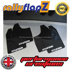 Mudflaps to fit Hyundai Getz rallyflapZ Mud Flaps in Black (Logo White) 3mm PVC