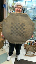very old wood 8 sided game board / old original paint  / auction barn find dirty