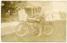 "RPPC Motorcycle ""Indian""  Man on His Bike Washington Missouri"