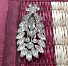 Vintage Kramer of New York ladies fur dress clip brooch pin clear Rhinestones RS