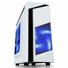 CiT F3 White Midi ATX Gaming PC Case 12CM Blue LED Fan USB 3.0 Side Window