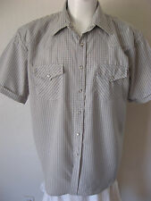 Mens Western Shirt M Gray Check Pearl Snap Short Sleeve Cowboy Classic Fit NEW