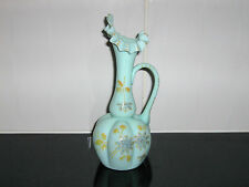 Antique Victorian Milky Green Ruffled Neck Hand Painted Glass Vase / Jug